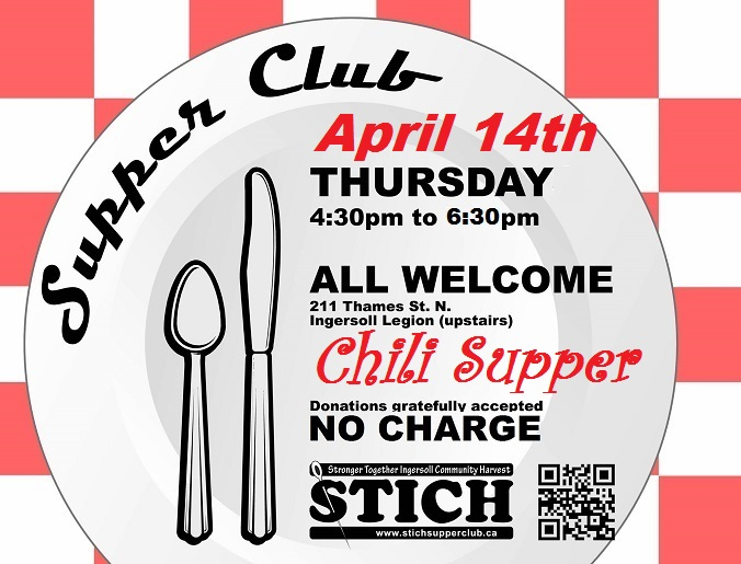 Supper Club Flyer Chili Supper April 14