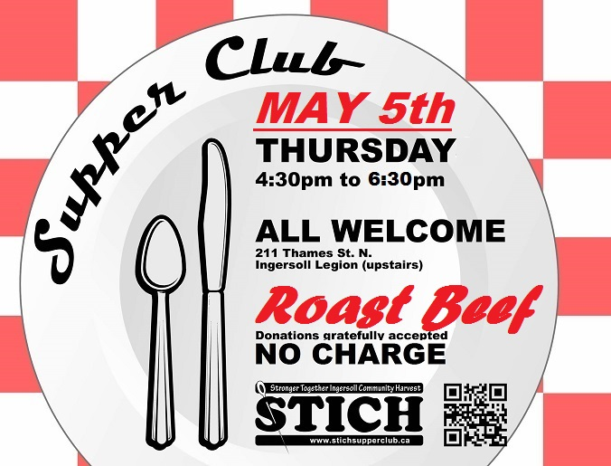Supper Club Flyer May 5th ROAST BEEF