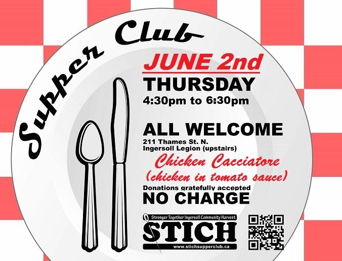 Supper Club Flyer June 2 Chicken Cacciatore